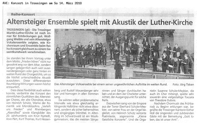 Kritik zum Konzert am 14.3.2010 in Trossingen